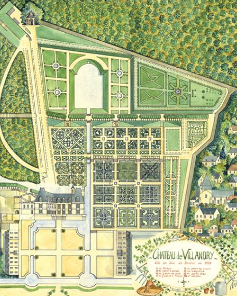 Candida martinellis italophile siteitalian gardens italian gardens in all of france this plan shows the castlepalace and the farm buildings at the bottom of the design and the village to the right sisterspd